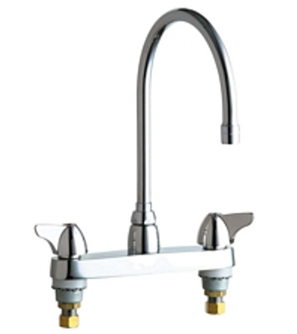 """Chicago Faucets 1100-GN8AE3ABCP Deck-Mounted Manual Sink Faucet 8"""" Center"""