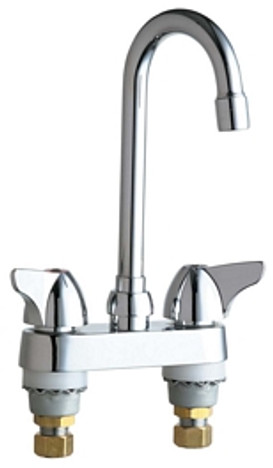 """Chicago Faucets 1895-ABCP Deck-Mounted Manual Sink Faucet 4"""" Center"""