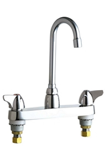 """Chicago Faucets 1100-GN1AE3ABCP Deck-Mounted Manual Sink Faucet 8"""" Center"""