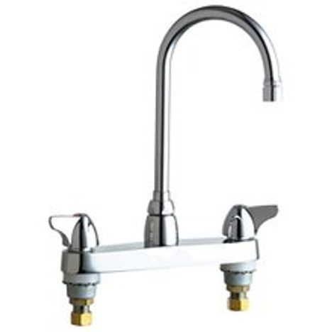 """Chicago Faucets 1100-GN2AE3XKABCP Deck-Mounted Manual Sink Faucet 8"""" Center"""