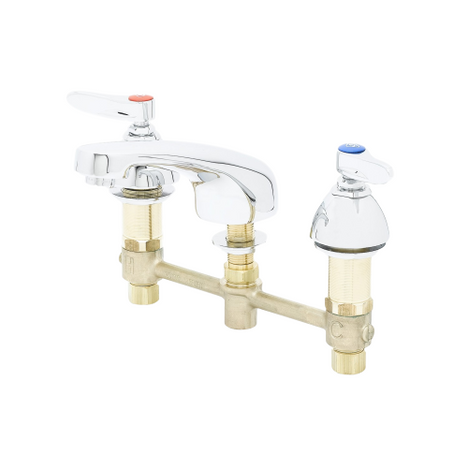 """T&S Brass B-2990 Lavatory Faucet 8"""" Concealed Cast Spout Lever Handles"""