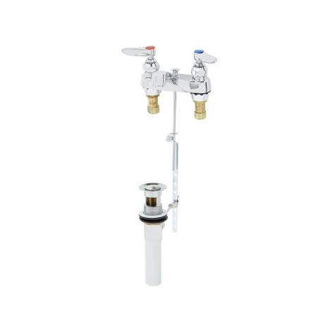 """T&S Brass B-0870 Lavatory Faucet 4"""" Deck 1/2"""" NPSM Male Shank Pop-Up"""