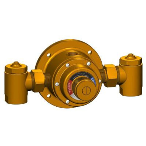 """Lawler 72046-61 Under-The-Counter Valve Series 310-SC1 8 gpm @ 45 psi (1/2"""", 1/2"""") in Rough Chrome  (shown here in Rough Brass)"""