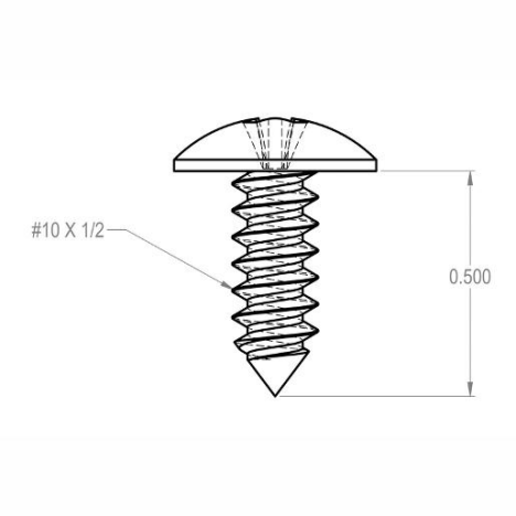 Acorn 0124-010-001 Stainless Steel Phillips Round Head Self-Tapping Screw, #10-32 x 1/2 Inch