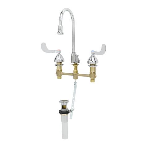 "T&S Brass B-2868-04 Medical Faucet 8"" Concealed Rigid/Swivel Gooseneck Pop-Up"