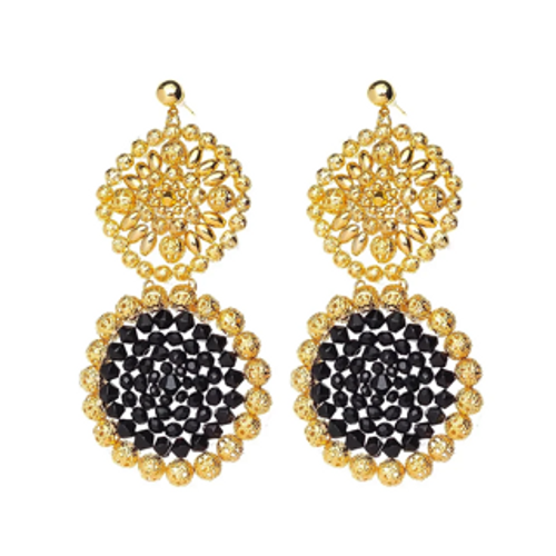 ER-1344 18K Gold plated earrings with fine beads and natural stones