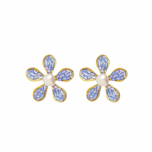 ER-1173 18K Gold plated earrings with fine beads and natural stones