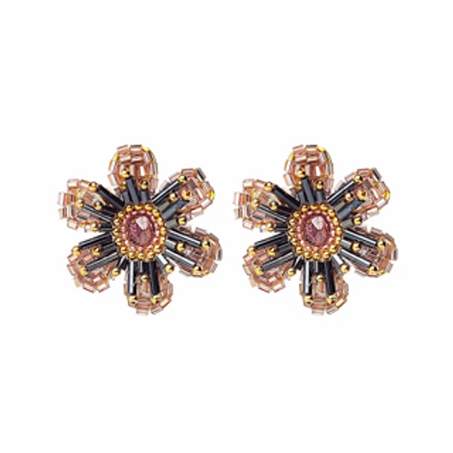 ER-1665 18K Gold plated earrings with fine beads and natural stones