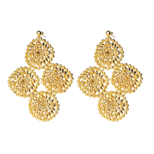 ER-1002 18K Gold plated earrings with fine beads and natural stones
