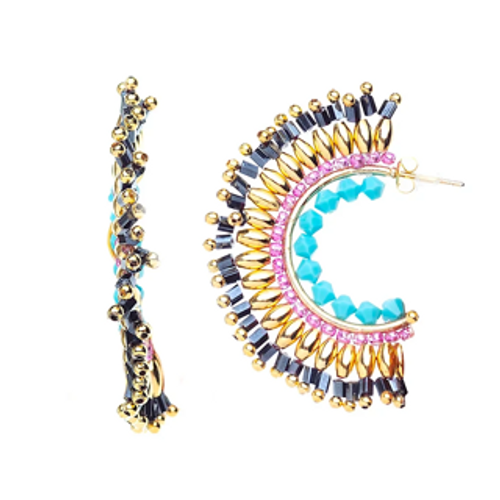 ER-1927 18K Gold plated earrings with fine beads and natural stones