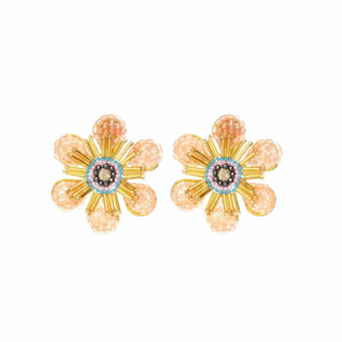 ER-1974 18K Gold plated earrings with fine beads and natural stones