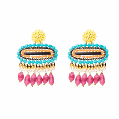 ER-11038 18K Gold plated earrings with fine beads and natural stones