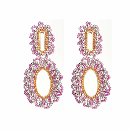 ER-11069 18K Gold plated earrings with fine beads and natural stones