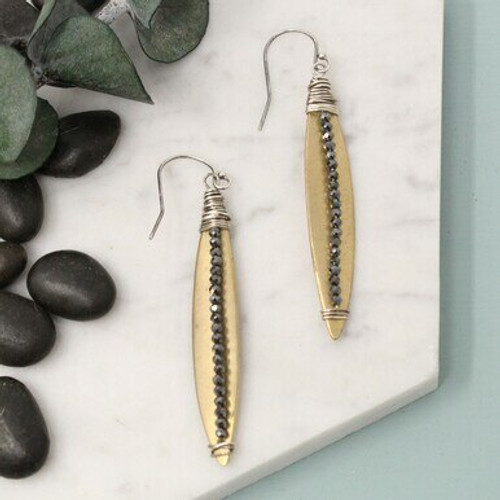 10167- Allure Earring w Hematite in Yellow Bronze