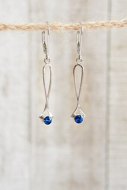 Sapphire and 14k white gold dangle earrings