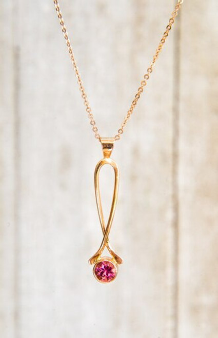 Pink Tourmaline and 14k rose gold wishbone necklace
