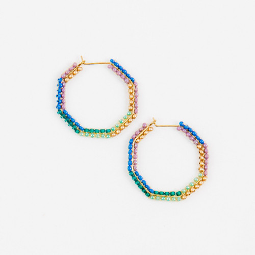 JEA474FM Small Beaded Hexagon Earrings