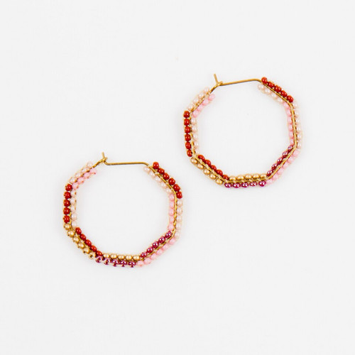 JEA474RO Small Beaded Hexagon Earrings