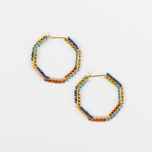 JEA474MB Small Beaded Hexagon Earrings
