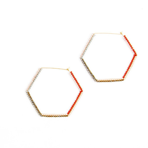 JEA475DR Large Beaded Hex Earrings