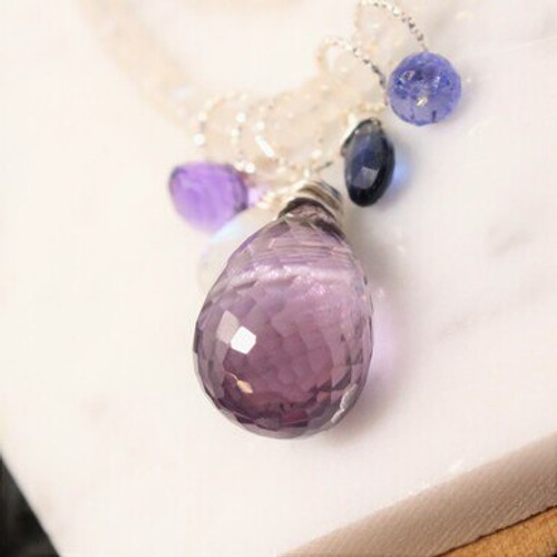 """NBL2920 32"""" Strung Rainbow Moonstone, Amethyst, and Tanzanite w/ Floaters Necklace"""