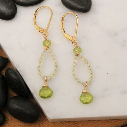 EGR2620G GF Prehnite Ring w/ Peridot Briolette Earrings