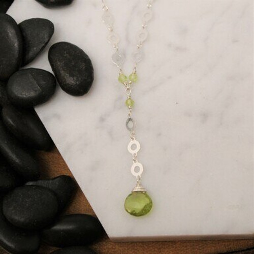 NGR9919 Donut Chain Long Drop w/ Peridot Briolette Necklace