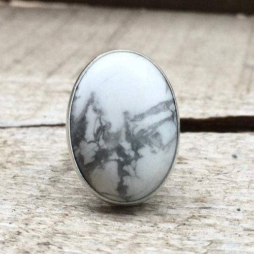 Large White & Grey Howlite Silver Statement Ring