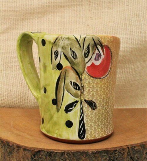 Green Painted Mug with Gold Leaf