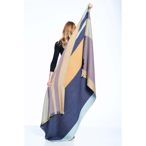 Indigo Gold Reversible Alpaca Throw