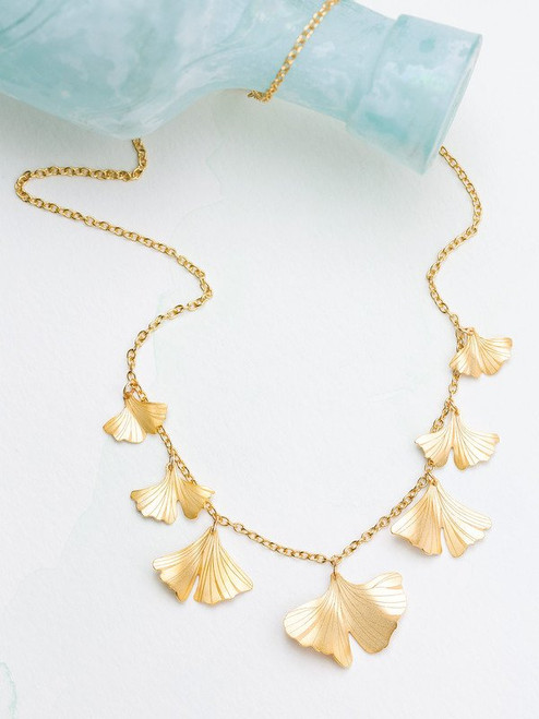 17240 Gold ginkgo classic necklace