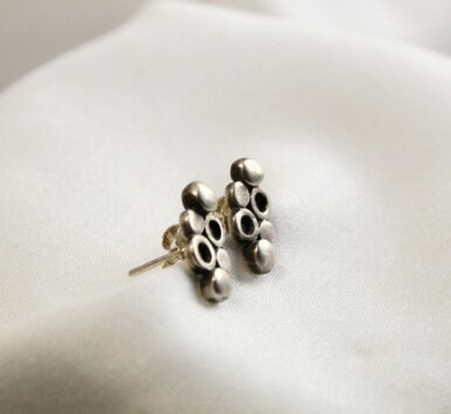 6 Dots Silver Stud Earrings
