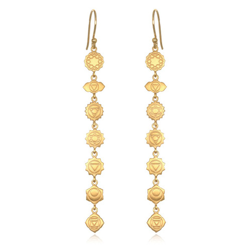EGC2-CHAKRA Gold Chakra Long Earrings