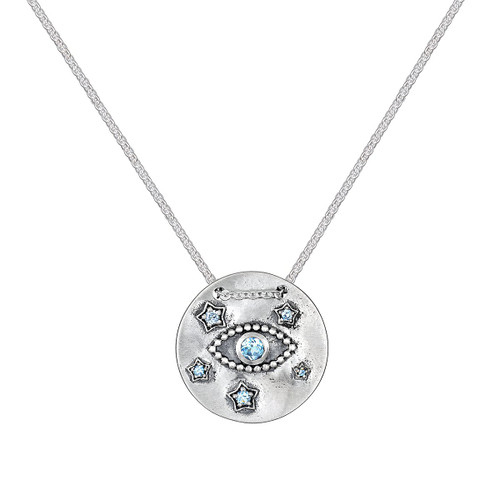 NS074-L18 Threaded Eye Star Coin Necklace- Silver