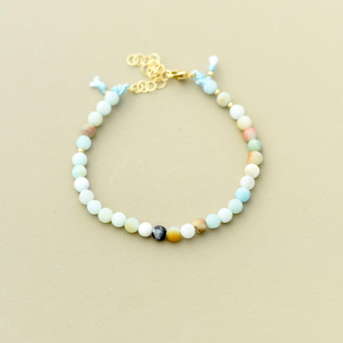 Contemplate bracelet, Amazonite beads on silk thread