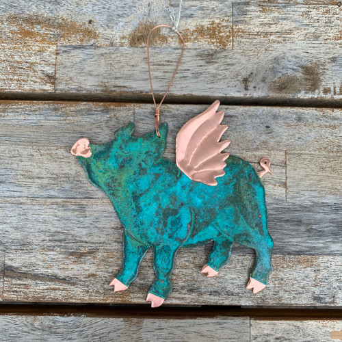 Flying Pig Copper Ornament