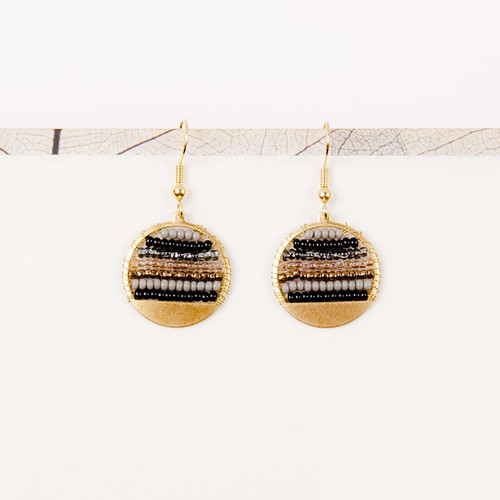 JEA456SM Beaded Stripe Disc Earrings