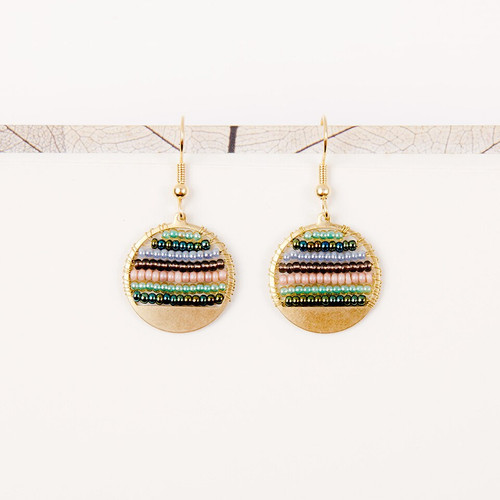 JEA456VR Beaded Stripe Disc Earrings