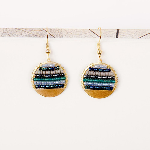 JEA456TE Beaded Stripe Disc Earrings