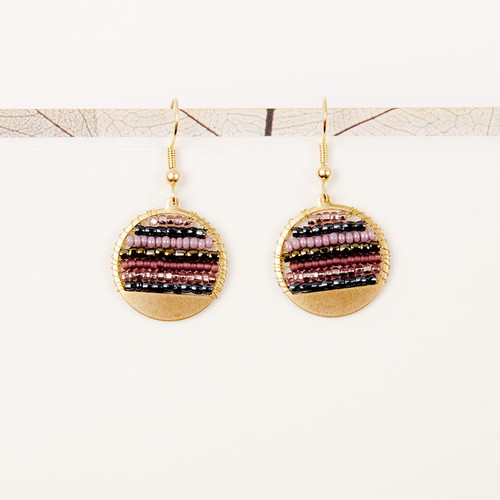 JEA456MP Beaded Stripe Disc Earrings