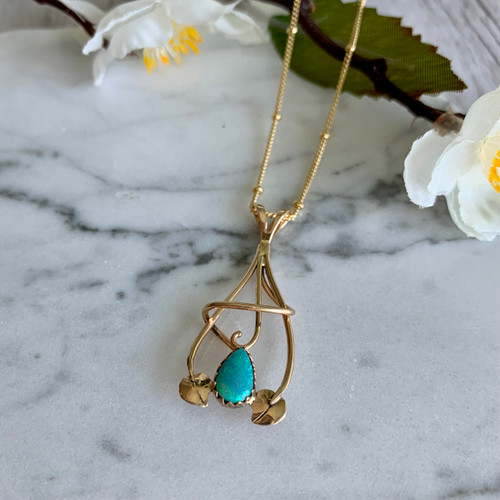 Opal Two Leaf Pendant Yellow Gold