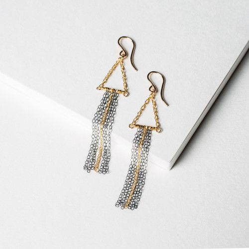 etes Tess oxidized ss and gf long fringe earring