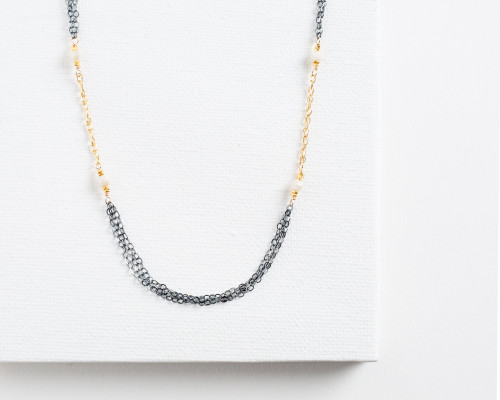 nnad Nadia gf, ox ss w/ white sapphire necklace