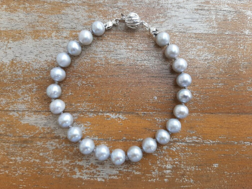 """ED399 Gray Pearl Bracelet Sterling Silver Clasp, 6.5"""""""