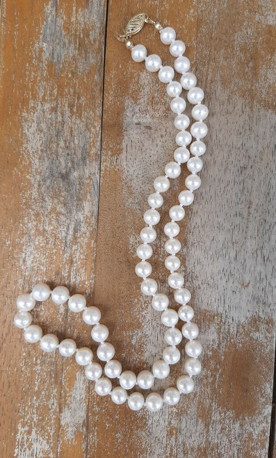 """ED2156 White Pearl Necklace 14k Gold Clasp, 20"""""""