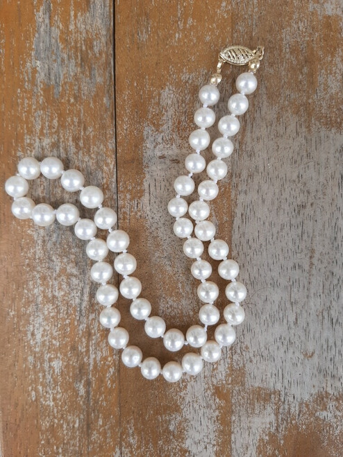 """ED2154 White Pearl Necklace 14k Gold Clasp, 16"""""""