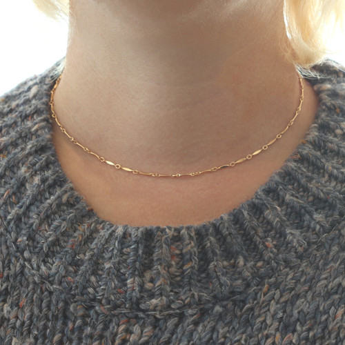 Diamond Shape Bar Chain Necklace- Gold Filled