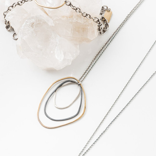 """20140- Triple Freeform Necklace on 16"""" Sterling Chain"""