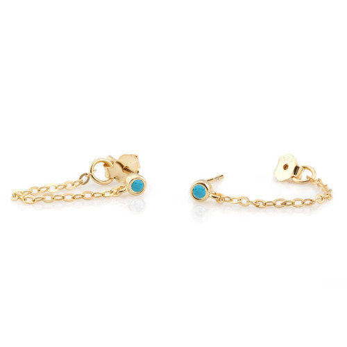 Chain Stud Earrings with Turquoise