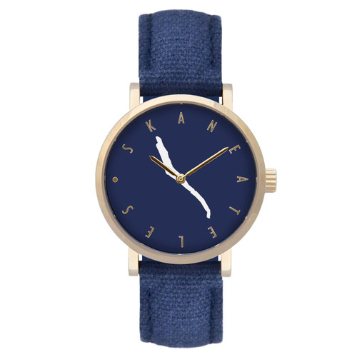 Skaneateles navy dial gold case w/navy strap